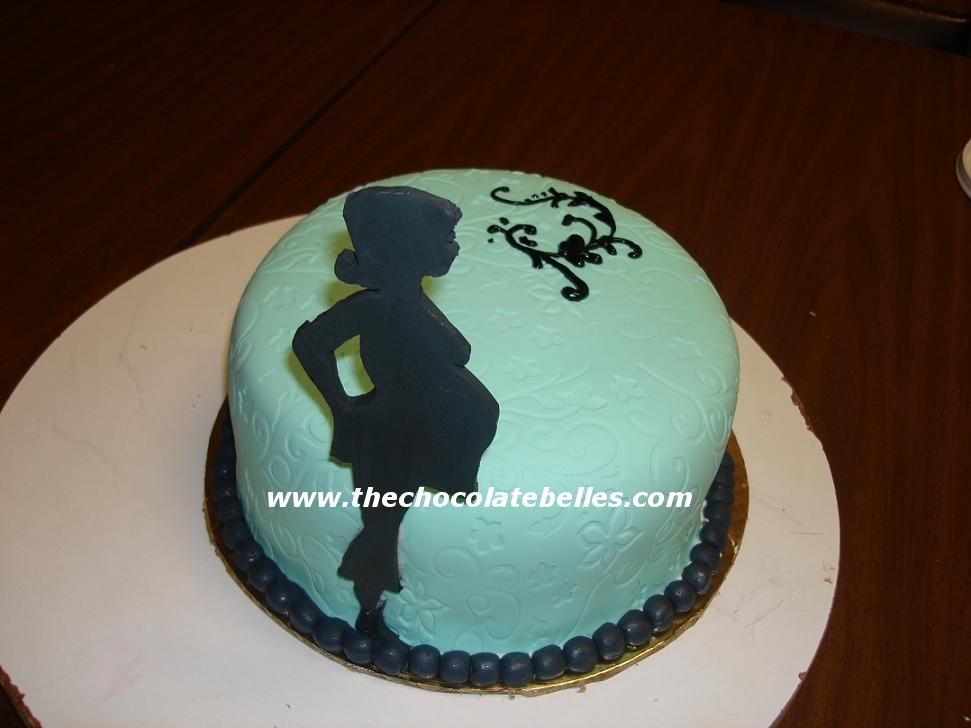 Pregnant Lady Silhouette Fondant Baby Shower Cake