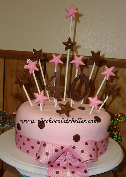 Elegant Fondant Pink & Brown 4oth Birthday Cake