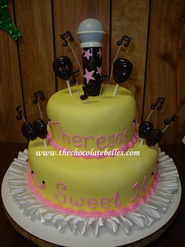 Musical Theme Fondant Sweet 16 Birthday Cake