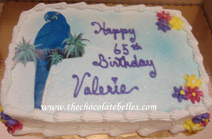 Tropical Blue Parrot Birthday Cake